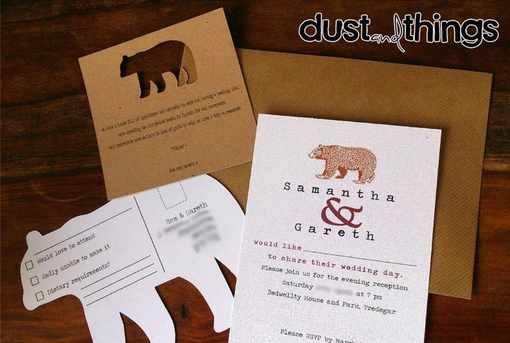 bespoke unique wedding invitation package with a bear