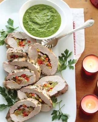 Pork tenderloin Texas style with salsa verde