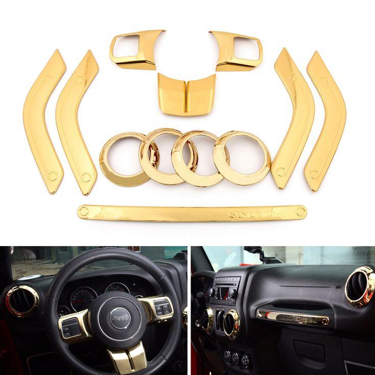 Mad Hornets - 12Pcs Gold Innner Decoration Cover Moulding Trim Jeep Wrangler 4 Door 2011-2015, $129.99…