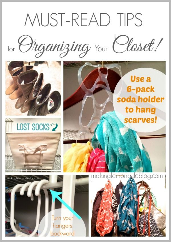 Great Tips on How to Organize Closets! Love the tip about hanging scarves and also the 'hanger trick'! #organizing #closets
