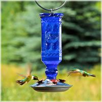 Hummingbird Feeders, Perky-Pet® Cobalt Blue Antique Bottle Glass Hummingbird Feeder, 8117-2