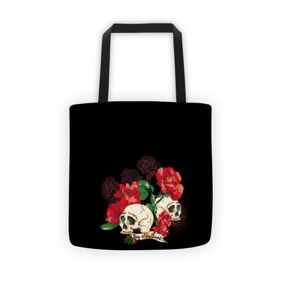 Red Rose Skull Black Women's Tote Shoulder Bags Handbags Purse