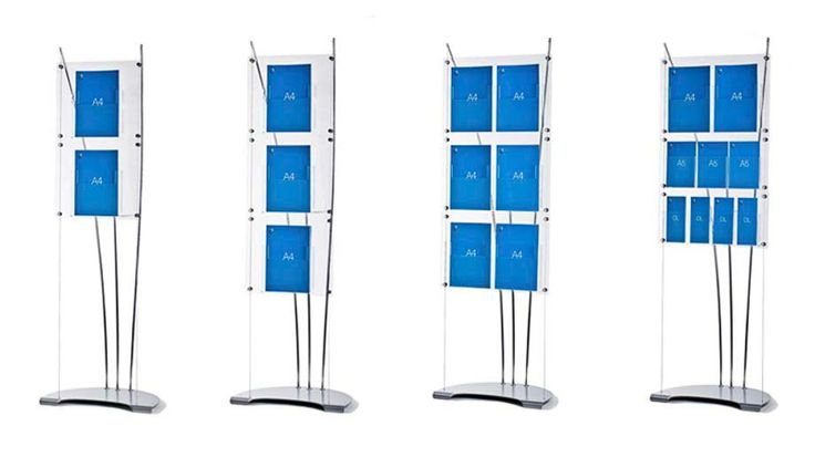 A4 brochure stands, stylish floor standing displays for corporate receptions and interiors