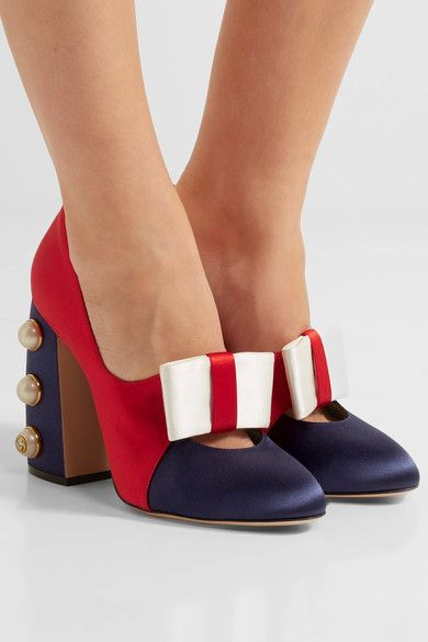 Heel measures approximately 110mm/ 4.5 inches Red, navy and white satin Slip on Made in Italy