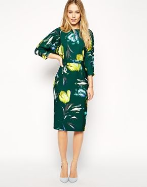 Enlarge ASOS Wiggle Dress with Wrap Back in Crepe Tulip Print