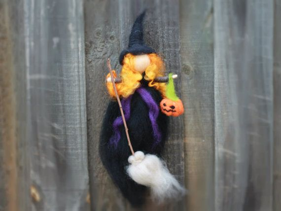 Needle Felted Halloween Witch, Hanging Ornament,  Waldorf inspired, pointy hat, Orange Curls, Black, Orange, Wool, Broom, Pumpkin