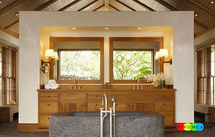 Bathroom:Decorating Modern Summer Bathroom Decor Style Tropical Bath Tubs Ideas Contemporary Bathrooms Interior Minimalist Design Decoration Plans Wooden Accents In A Tropical Bathroom Cool and Cozy Summer Bathroom Style : Modern Seasonal Decor Ideas