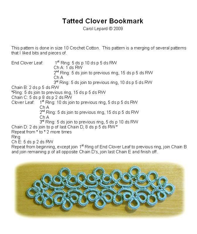 Tatting Patterns :: TattedCloverBookmark.jpg picture by carolivy64-tatting - Photobucket