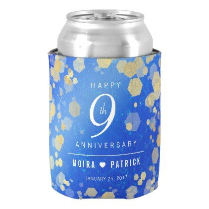 Elegant 9th Lapis Lazuli Wedding Anniversary Can Cooler - customize create your own #personalize diy & cyo