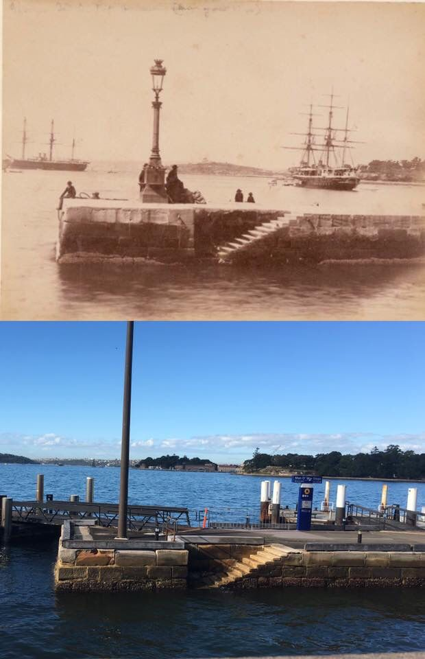 Man o' War Steps, Bennelong Point c1880 > 2016. [State Library of NSW  By Phil Harvey]