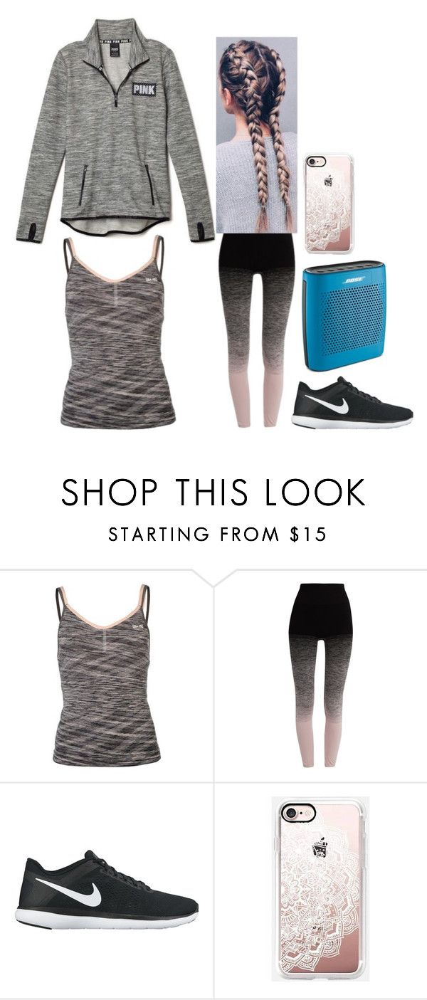 """""""Listening To The Song Fighter By Christina Aguilera+Treadmill"""" by graciesmiles1324 ❤ liked on Polyvore featuring Victoria's Secret, USA Pro, Pepper & Mayne, NIKE, Casetify and Bose"""