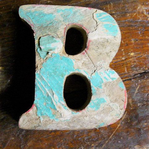 beach decor wooden letter b vintage style nautical by seastyle