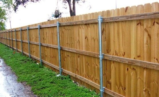 6 Ft Cedar Fence 3 Rail With Galvanized Posts Backside