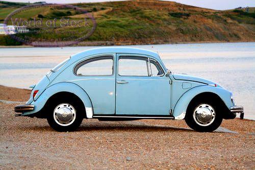 classic vw beetle stock photo classic pale blue volkswagen beetle against seashore. Black Bedroom Furniture Sets. Home Design Ideas