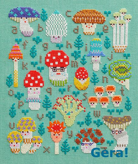 Mushroom Family Sampler.  Free cross stitch PDF pattern.  Click link then translate to English.  Click on website (http://www.lecien.co.jp/embroidery/index.html).  The pattern pic will be in the left (scroll down). Click on it to get PDF pattern.