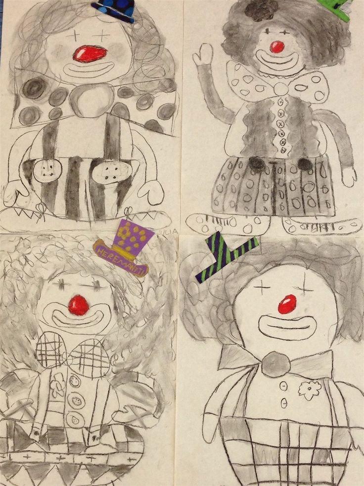 Clown getekend met houtskool. Tekening enkele accenten met papier beplakken.