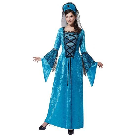 Blauwe jurk Middeleeuws thema feest  Middeleeuwse prinses jurk blauw. Blauwe jurk met bijpassende hoed in Middeleeuwse stijl. Deze prinsessen jurk is one size ongeveer maat M/L.  EUR 27.50  Meer informatie