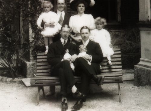 Prince Andrew of Greece and Denmark with family.  Andrew was the fourth son of Olga Konstantinovna and King George I. He married Princess Alice of Battenberg (back), a niece of Alexandra Feodorovna's. Nicholas, Alexandra, and their four daughters...