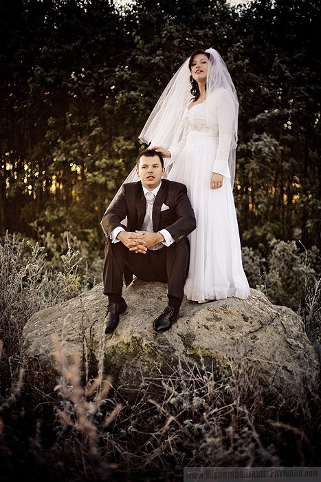 wedding photo on rock