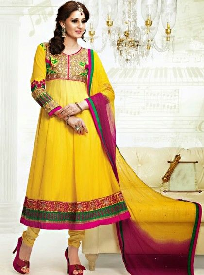 Shop Here http://www.silkmuseumsurat.in/salwar_kameez/lemon-yellow-color-faux-georgette-fabric-anarkali-suit Item #: 3920 Lemon Yellow Color Faux Georgette Fabric Anarkali Suit Color : Yellow Fabric : Faux Georgette Occasion : Bridal, Casual, Festival, Party, Reception, Wedding Style : Anarkali Dress Work : Embroidered, Patch Border, Resham