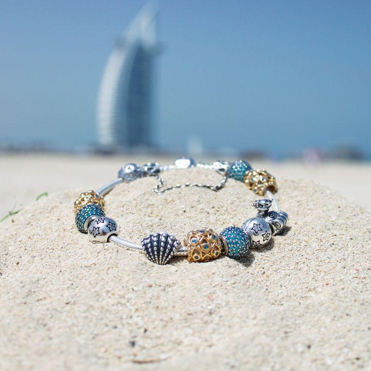 The perfect PANDORA summer themed bracelet! #PANDORAbracelet #PANDORAme #Beach…