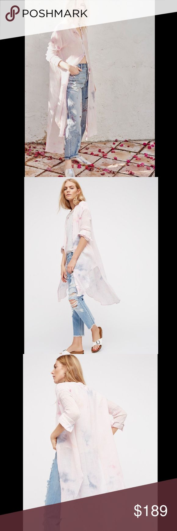 FREE PEOPLE tie dye button down maxi Super relaxed tie-dye buttondown in a maxi silhouette with a crinkly fabrication and unfinished edges for a lived-in look. Semi-sheer and side vent detailing. 314196  72% Linen, 28% Cotton  Retail: $168 Sizes: Medium  ❤I have over 300 new with tag Free People & More items for sale! I love to offer bundle discounts!  ❤No trades. I no longer discuss pricing in comments. Please use offer button to submit offer! 😊 Free People Tops Tunics