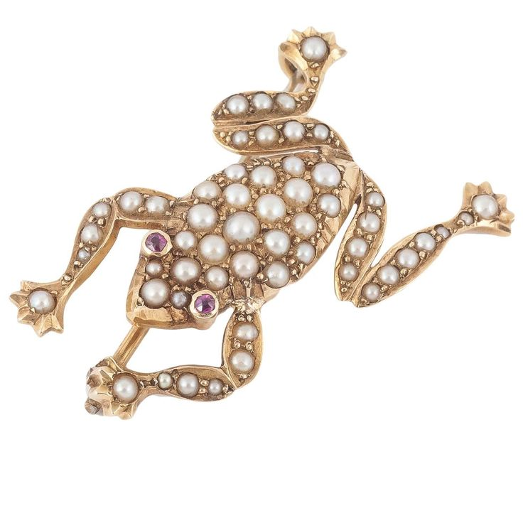 Edwardian Pearl Gold Frog Brooch | From a unique collection of vintage brooches at https://www.1stdibs.com/jewelry/brooches/brooches/