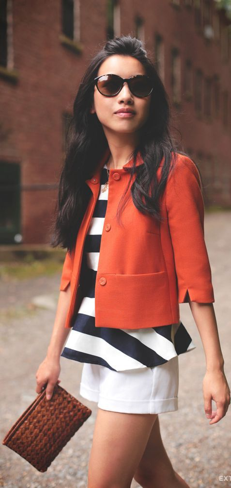 cropped jacket and striped peplum top. #style #inspiration #zappos