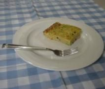 Zucchini Slice - 1 and 3/4 zucchini's, 2 carrots and a small onion. added 95g milk and 5g oil instead of all oil, and 4 whole eggs and 2 egg whites.