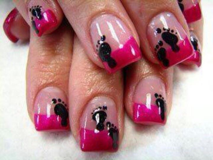 babies nailart nail designs footprint nails nail art baby shower