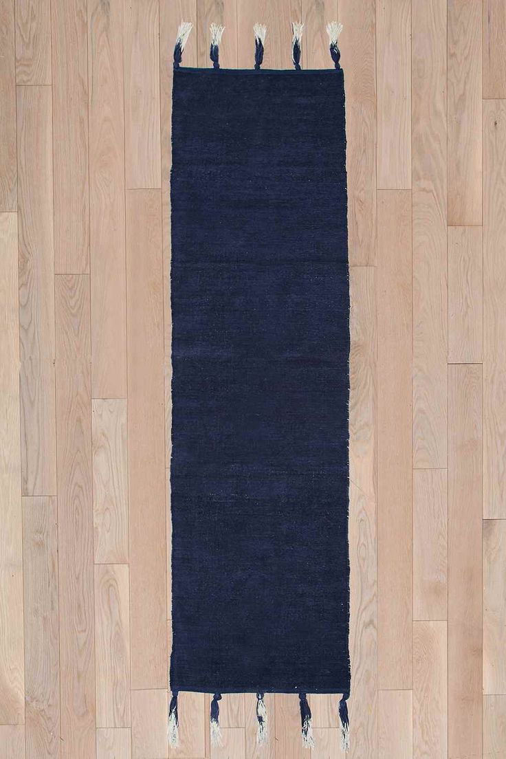 Ombre Tassel 2x8 Rug in Navy - Urban Outfitters