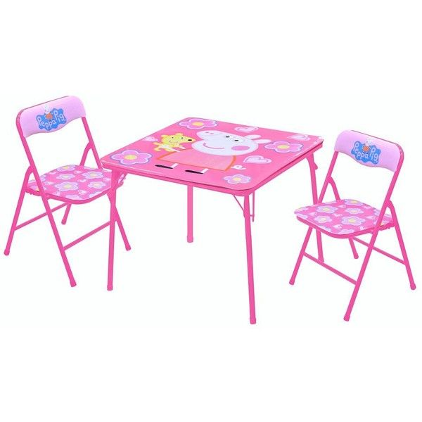 Peppa Pig Square Table & Chairs Set () ($20) ❤ liked on Polyvore featuring home, children's room and children's furniture
