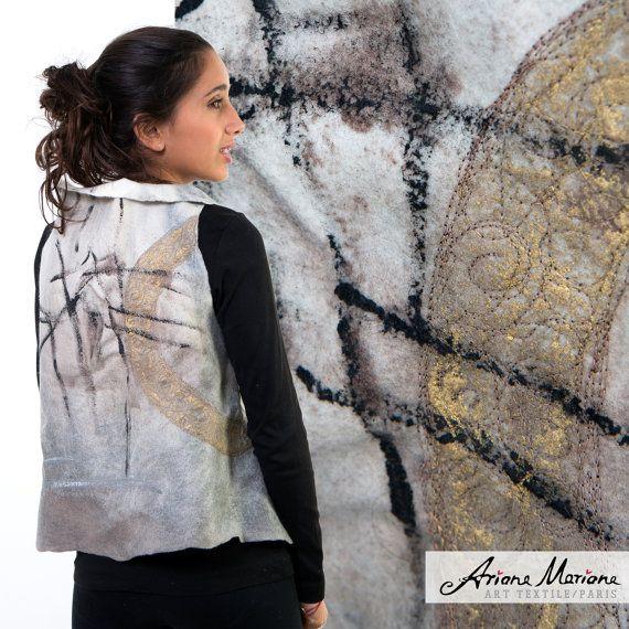 Uitstekende Wearable Art vrouwen Garment - Gevilte Merino wollen Vest - Parijs Design aarde beschaduwd - omkeerbare vrouwen Vest - Convertible Bolero