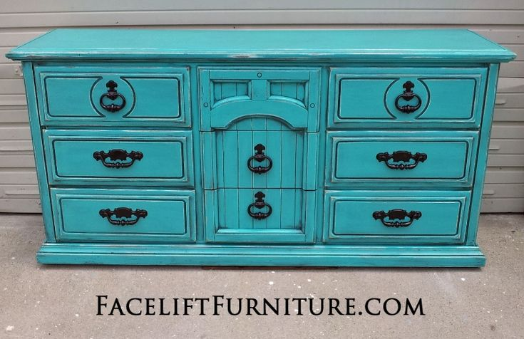 Large Dresser In Turquoise With Black Glaze Distressed