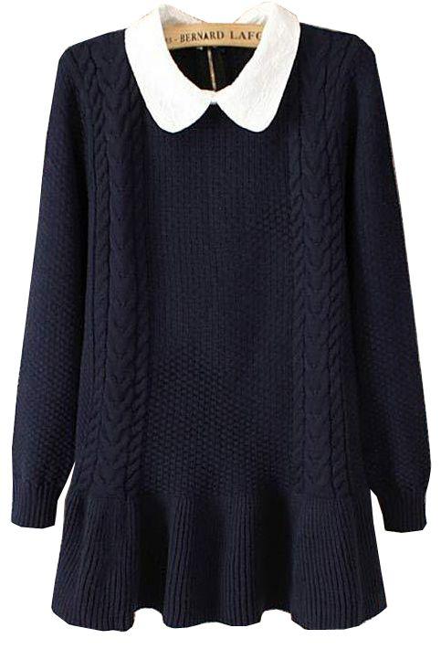 Navy Long Sleeve Lapel Ruffle Sweater - Sheinside.com