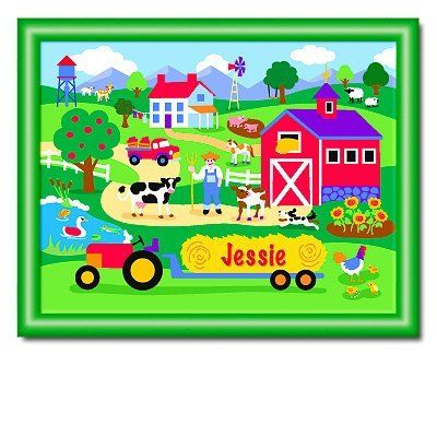 """Country Farm Large Green Personalized Print by Olive Kids. $77.99. Green frame measures 18.5"""" x 24.5"""". Ready to hang.. Please enter personalization request in the gift message section at checkout.. Holy cow! Our personalized Country Farm framed print has more animals than Old MacDonald! Your little country bumpkin' will love seeing their name in this fun farm scene with all the chickens, cows, sheep, goats and big red barn! This spectacular framed art will make an e..."""