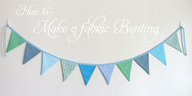 How to Make a Fabric Bunting » Glorious Treats | I made one of these using handmade paper sewn to a length of twill tape. It turned out lovely.