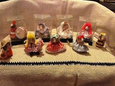 Vintage Lot Of 9 Original Fur Toys Dressed Up Mice W