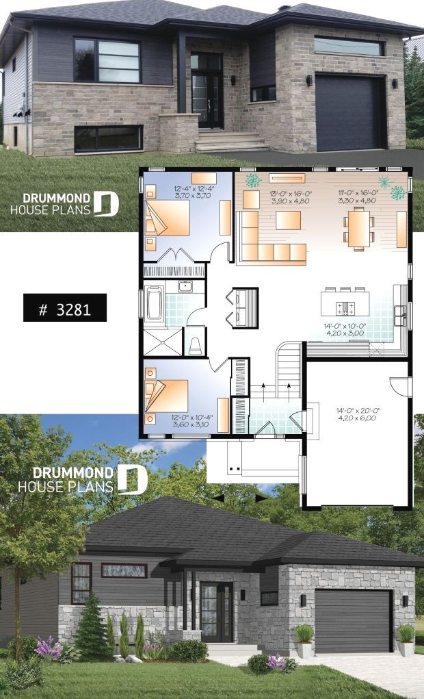 Modern Split Level Home With Open Floor Plan 2 Bedrooms Garage Activities Area Open To The Back Mai Bungalow House Design House Plans Drummond House Plans