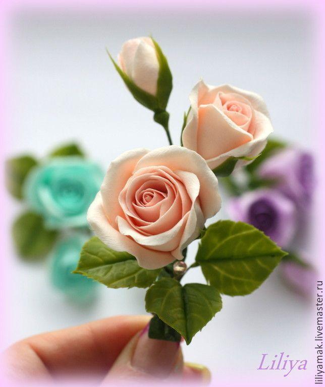 Купить или заказать бутоны роз нежно-персикового цвета ( зажим для волос) в интернет магазине на Ярмарке Мастеров. С доставкой по России и СНГ. Срок изготовления: обсуждается. Материалы: Японская глина decoclay, холодный…. Размер: веточка 8,5 см