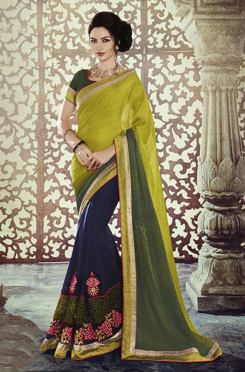 Light Green & Blue Designer Georgette Saree
