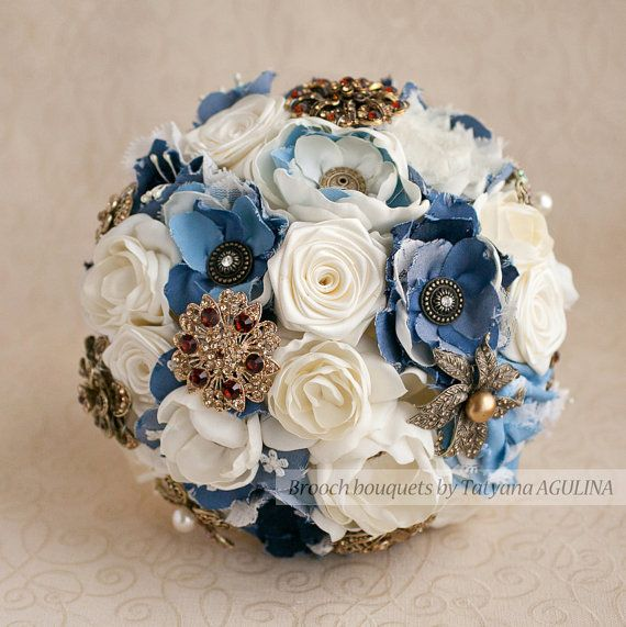 Brooch bouquet. Denim Ivory and Gold wedding by MagnoliaHandmade