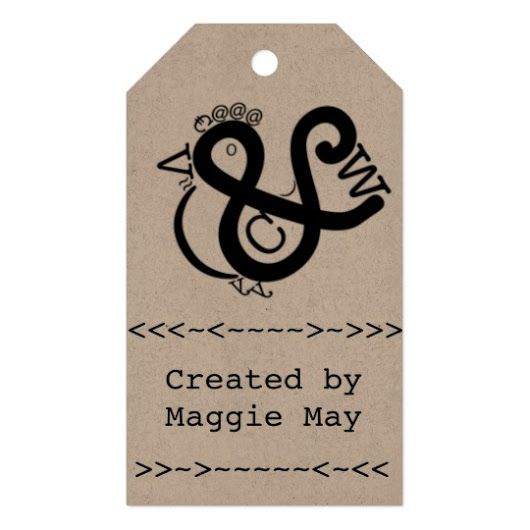 Gift tag featuring a cheerful bird created from type. Change the text to pers...