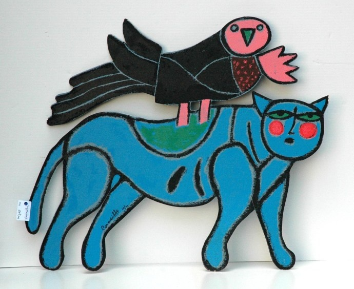 Corneille ('Corneille' Guillaume Beverloo) (1922-2010) - Cat and bird - painted metal