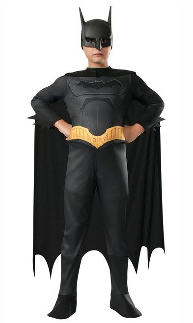 "Beware The Batman Kids Costume - Spend some time as Bruce Wayne in his early years of fighting crime in this Batman costume from the TV show ""Beware the Batman.""  This Batman costume is a one piece jumpsuit with a velcro opening. It is long sleeved and has attached boot covers. Screen printed on the front is the Batman signal with a muscles. #batman #superhero #children #calgary #yyc #costume"