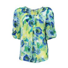Zapara Green Flower Graphic Print Top