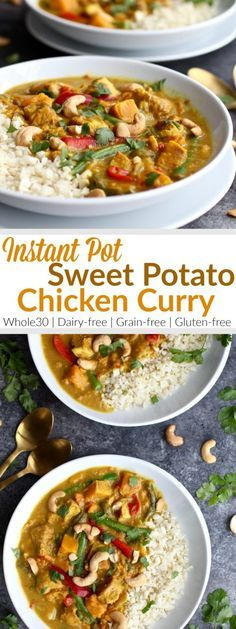 Instant Pot Sweet Potato Chicken Curry is heaven in a bowl. It comes with a little kick from the spices and a little sweet from the sweet potatoes. Every bite is just a little deliciously different   Whole30   Paleo   Gluten-free   Grain-free   Dairy-free   therealfoodrds.com