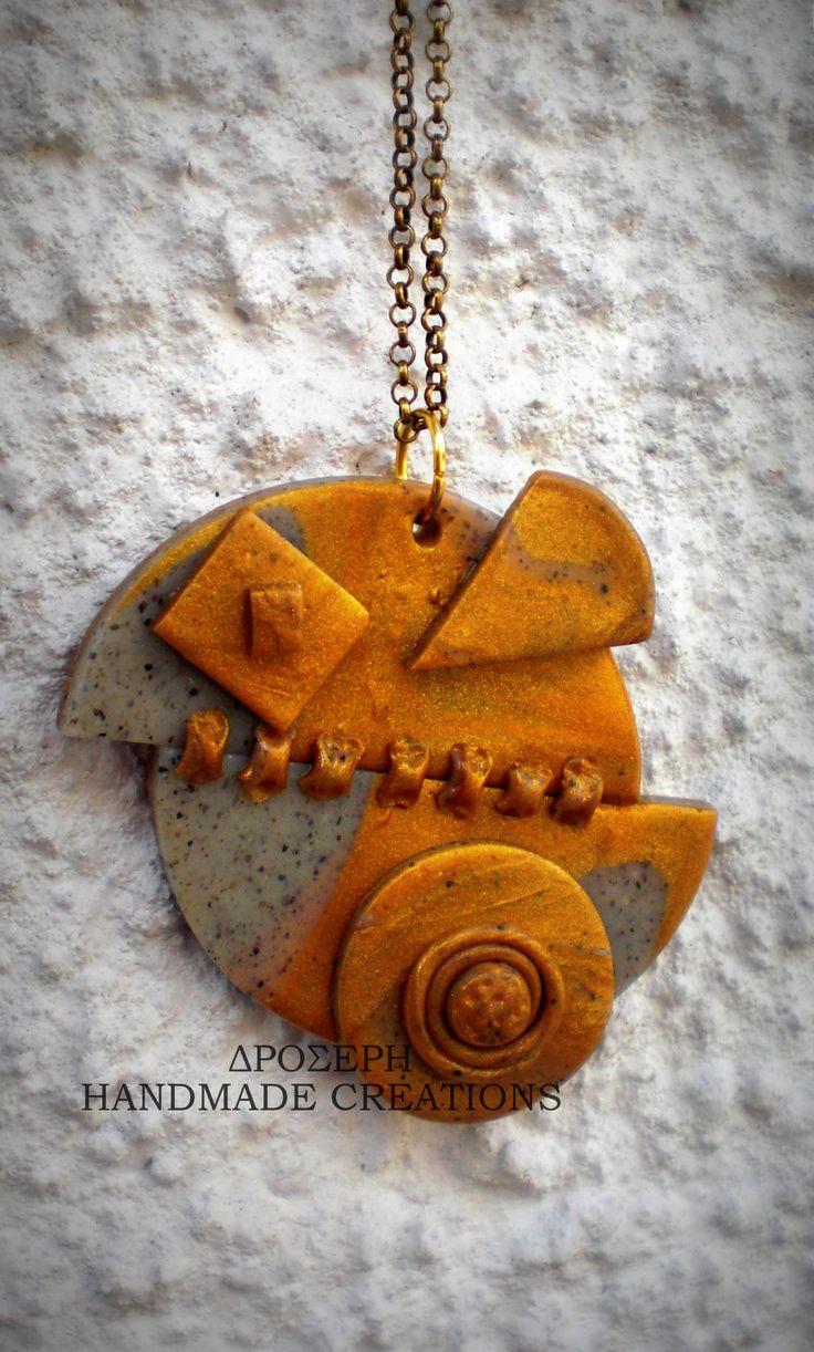 steampunk clay pendant