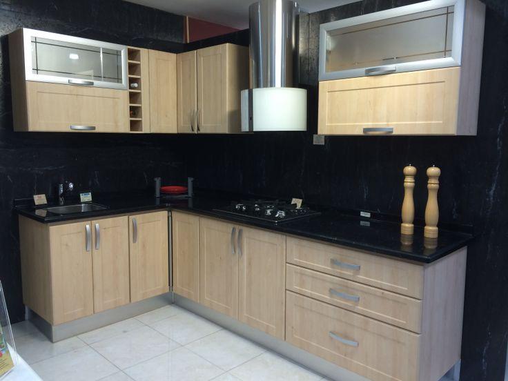Cocina Termoformada Acabado en Madera Clara  Cocinas Fabricadas por