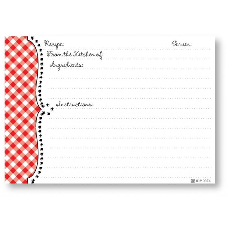 recipe stationery